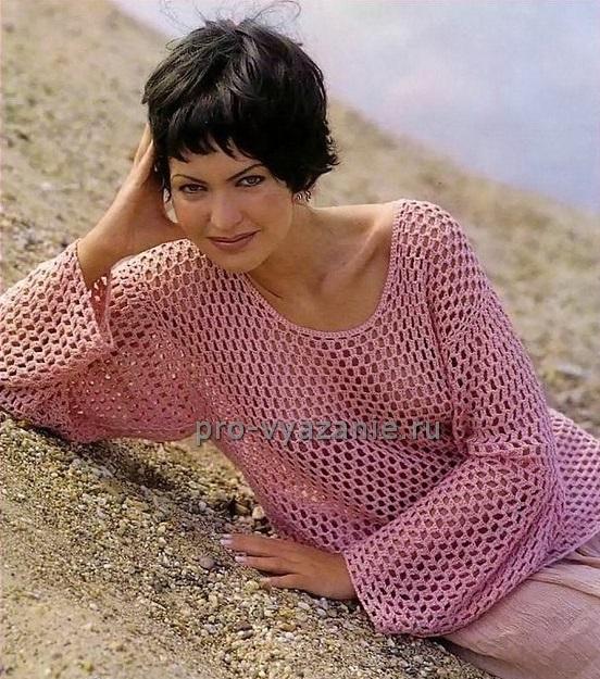 Женский пуловер крючком (с описанием)