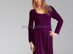 Вяжем тёплое платье спицами