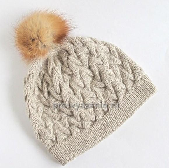 вяжем спицами шапку с помпоном