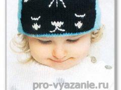 """Шапочка жаккардовым узором """"Котёнок"""""""