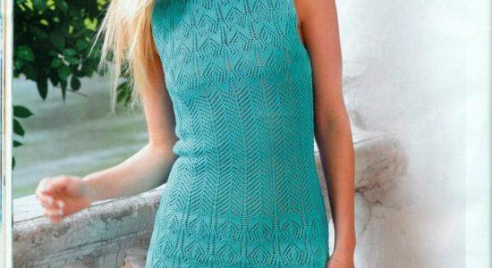 Летнее ажурное платье спицами (схема и описание)